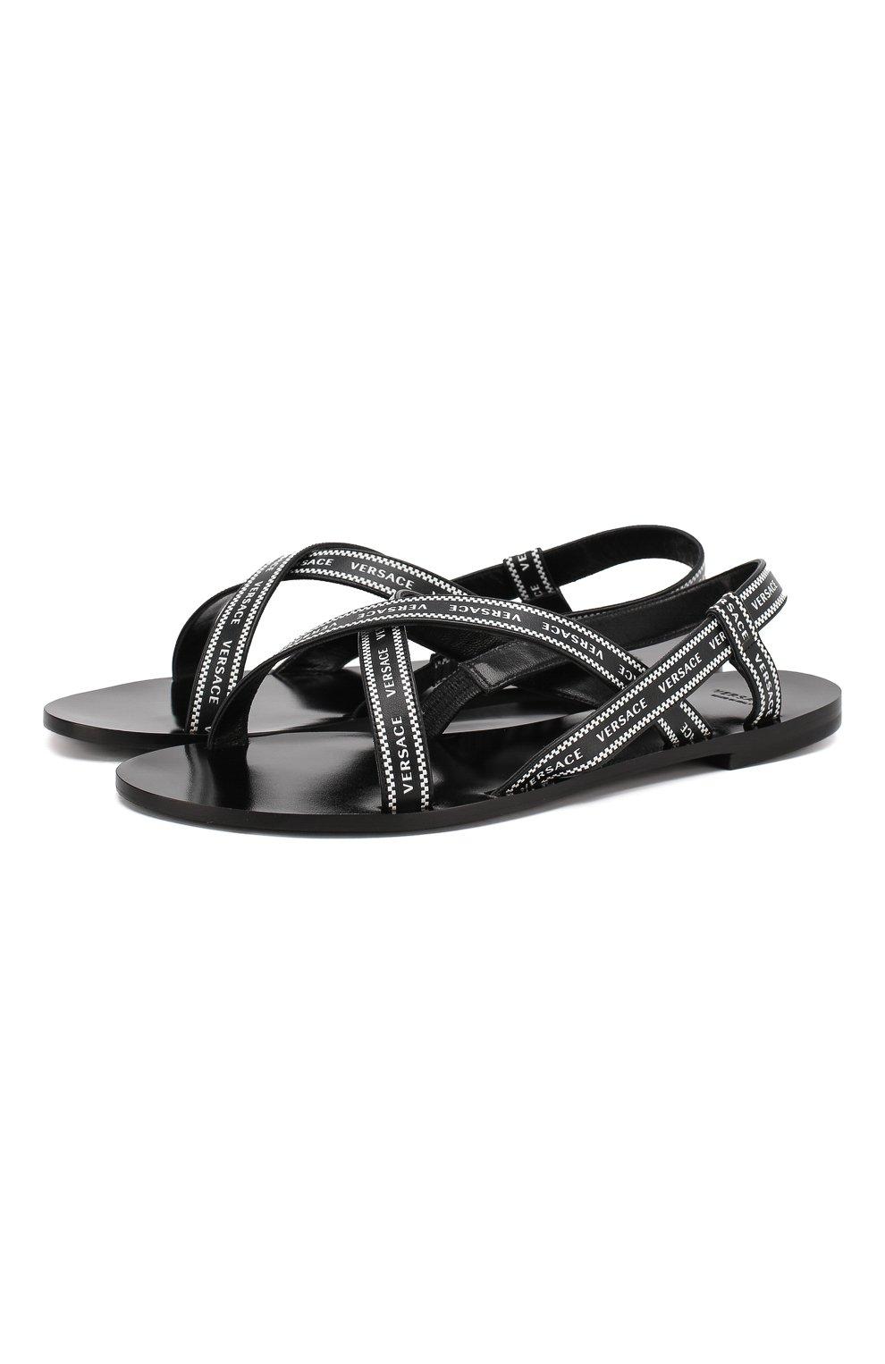 Кожаные сандалии Versace черно-белые   Фото №1