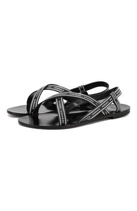 Кожаные сандалии Versace черно-белые | Фото №1