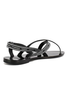 Кожаные сандалии Versace черно-белые | Фото №4