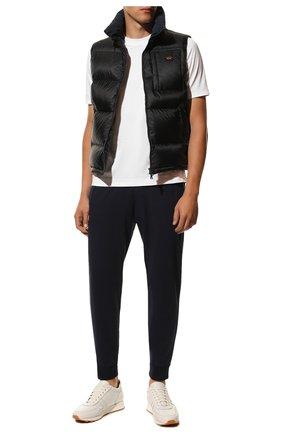 Мужские хлопковые джоггеры DANIELE FIESOLI темно-синего цвета, арт. DF 0652 | Фото 2 (Материал внешний: Хлопок; Длина (брюки, джинсы): Стандартные; Силуэт М (брюки): Джоггеры; Мужское Кросс-КТ: Брюки-трикотаж)