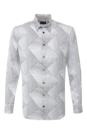 Мужская шелковая рубашка GIORGIO ARMANI синего цвета, арт. 9SGCCZ18/TZ287 | Фото 1
