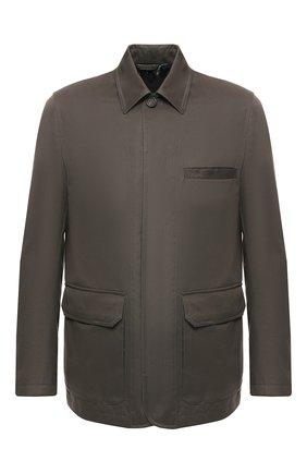 Мужская куртка из смеси хлопка и кашемира BRIONI темно-зеленого цвета, арт. SFNE0L/P603C | Фото 1