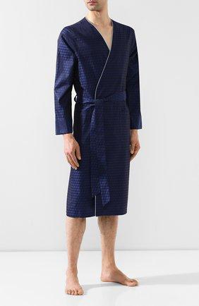 Мужской хлопковый халат ROBERTO RICETTI темно-синего цвета, арт. VESTAGLIA K0S/0R0F2202 | Фото 2