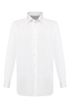 Мужская хлопковая сорочка с воротником кент BRIONI белого цвета, арт. RCLU2L/P804G | Фото 1