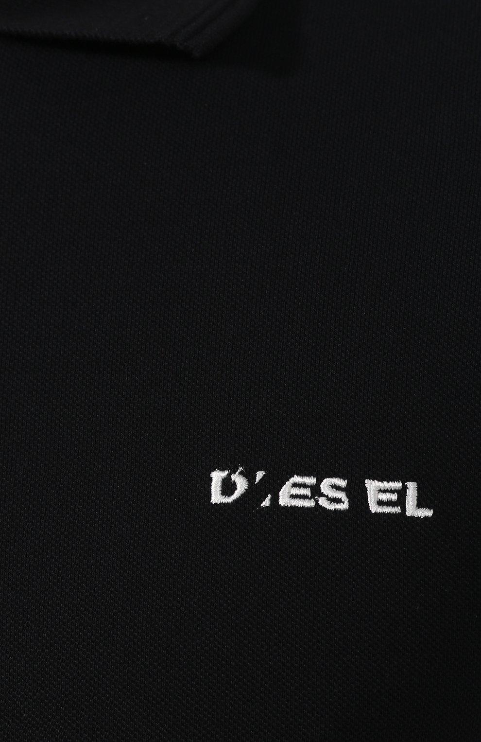 Хлопковое поло Diesel черное | Фото №5