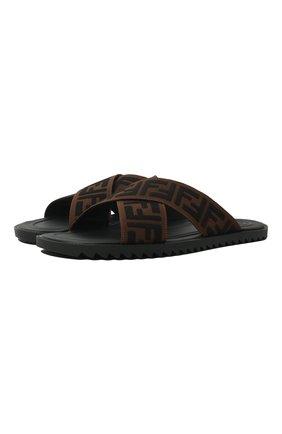 Мужские текстильные шлепанцы FENDI коричневого цвета, арт. 7X1222 A63T | Фото 1