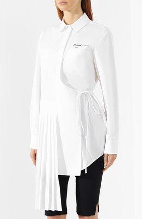 Хлопковая рубашка Off-White белая | Фото №3