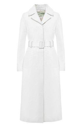 Кожаное пальто Off-White белого цвета | Фото №1