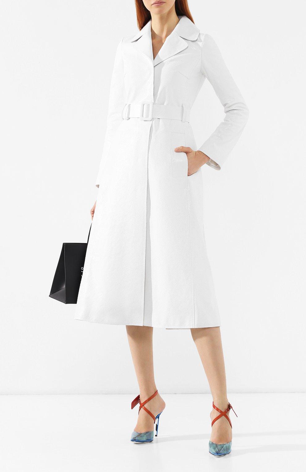 Кожаное пальто Off-White белого цвета | Фото №2