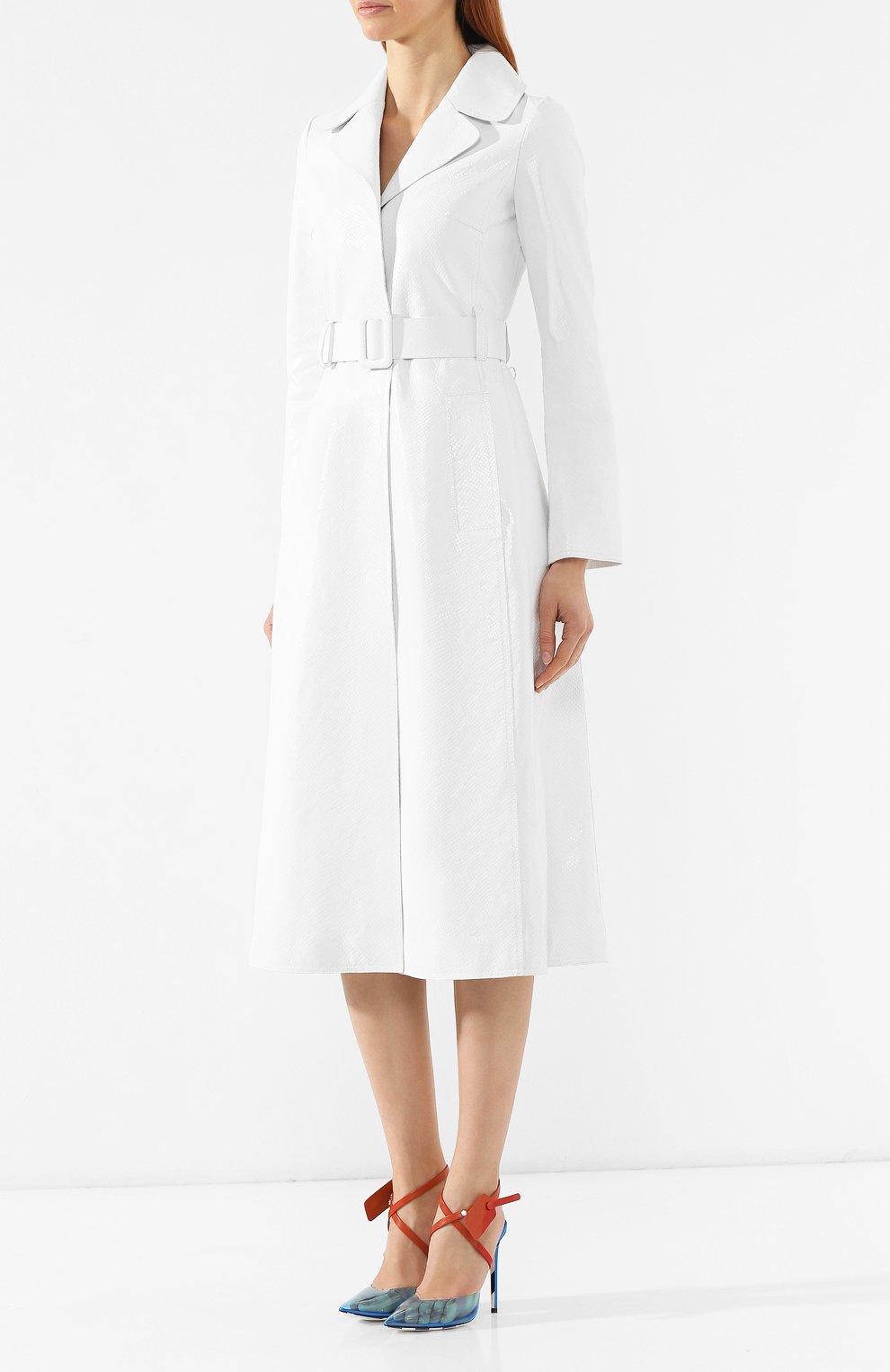 Кожаное пальто Off-White белого цвета | Фото №3