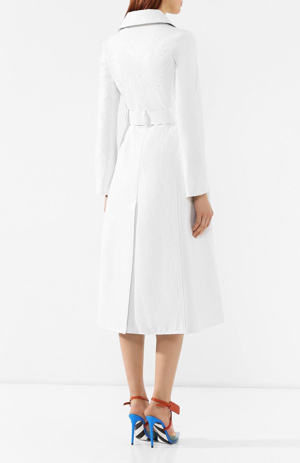 Кожаное пальто Off-White белого цвета | Фото №4