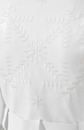 Кожаное пальто Off-White белого цвета | Фото №5