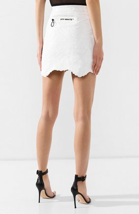 Кожаная юбка Off-White белая   Фото №4