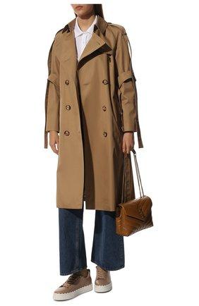 Женские кожаные кеды lauren CHLOÉ бежевого цвета, арт. CHC19S10842 | Фото 2