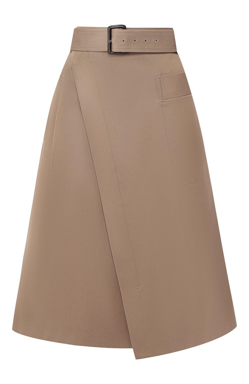 Женская хлопковая юбка BOSS хаки цвета, арт. 50404797 | Фото 1