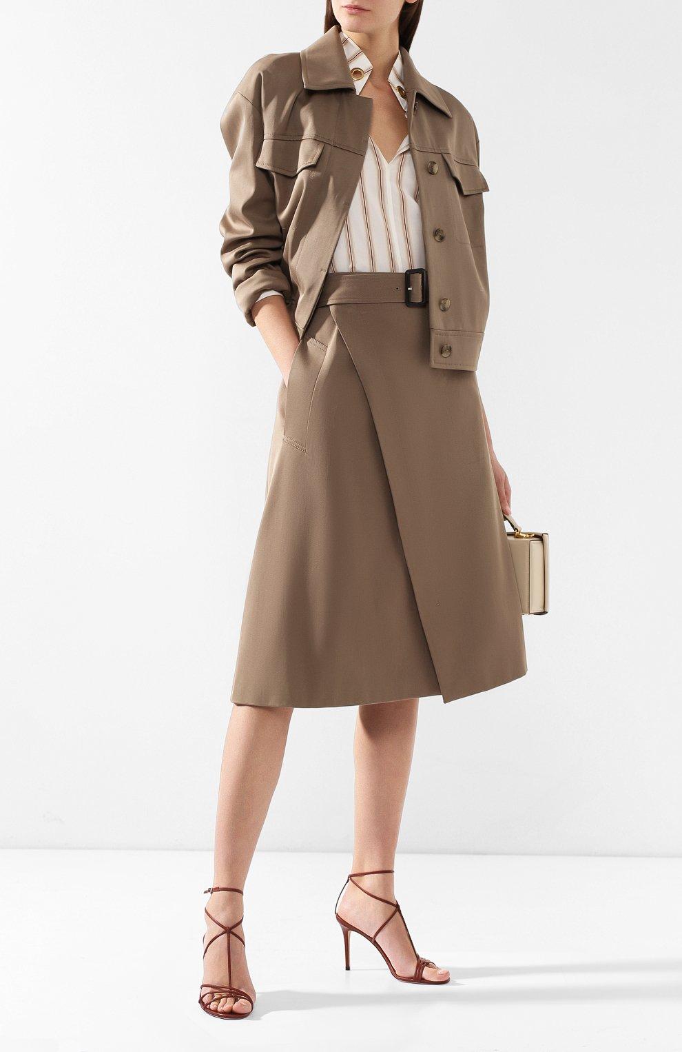 Женская хлопковая юбка BOSS хаки цвета, арт. 50404797 | Фото 2