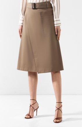 Женская хлопковая юбка BOSS хаки цвета, арт. 50404797 | Фото 3