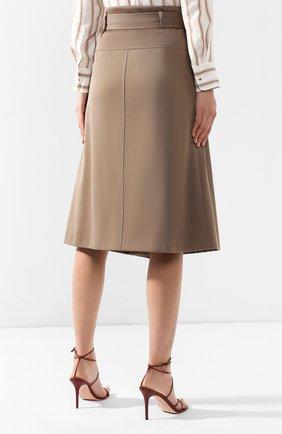 Женская хлопковая юбка BOSS хаки цвета, арт. 50404797 | Фото 4