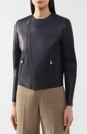 Кожаная куртка Ralph Lauren синий | Фото №3