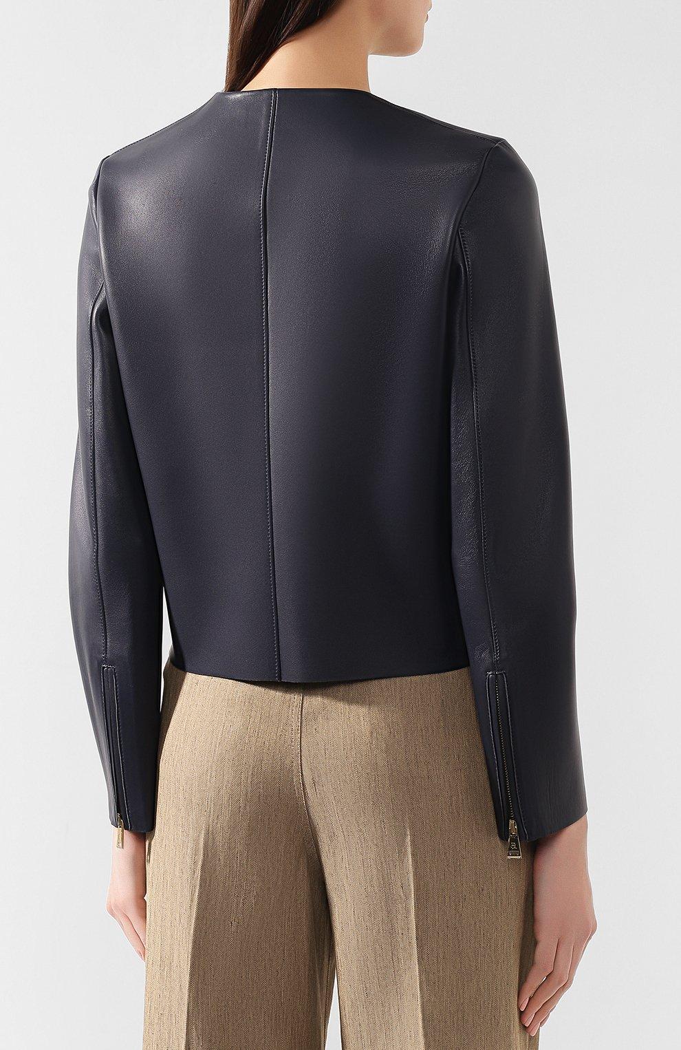 Кожаная куртка Ralph Lauren синий | Фото №4