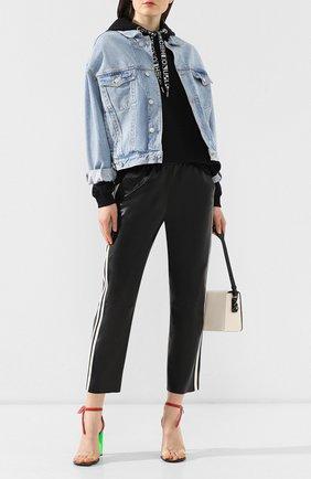 Кожаные брюки DROMe черно-белые   Фото №2