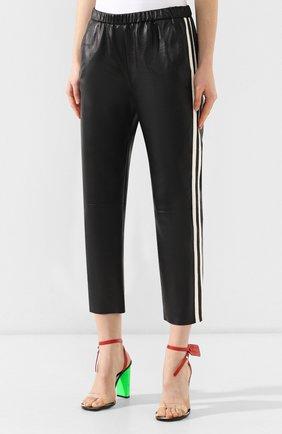Кожаные брюки DROMe черно-белые   Фото №3