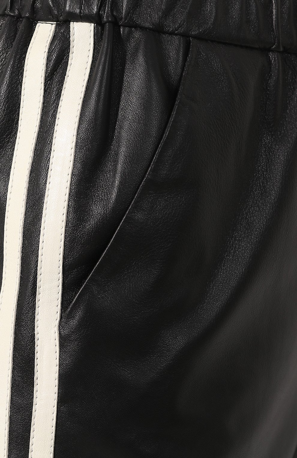 Кожаные брюки DROMe черно-белые   Фото №5