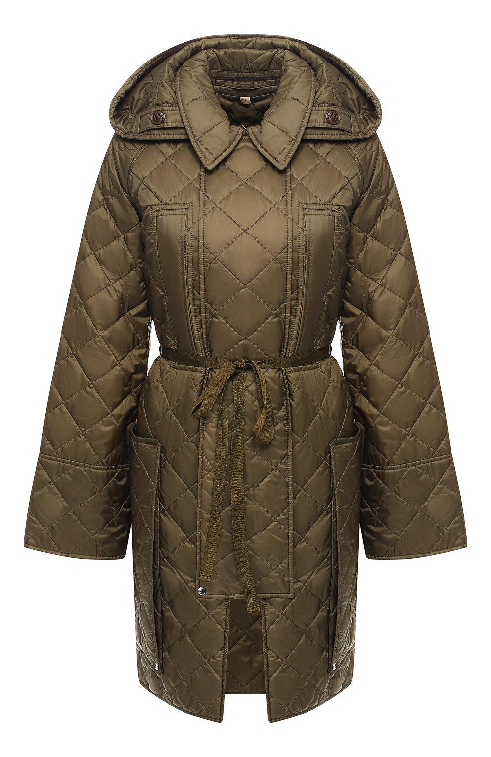 Стеганое пальто Burberry зеленого цвета   Фото №1