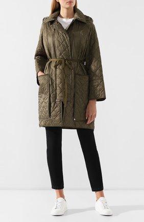 Стеганое пальто Burberry зеленого цвета   Фото №2