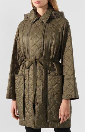 Стеганое пальто Burberry зеленого цвета   Фото №3
