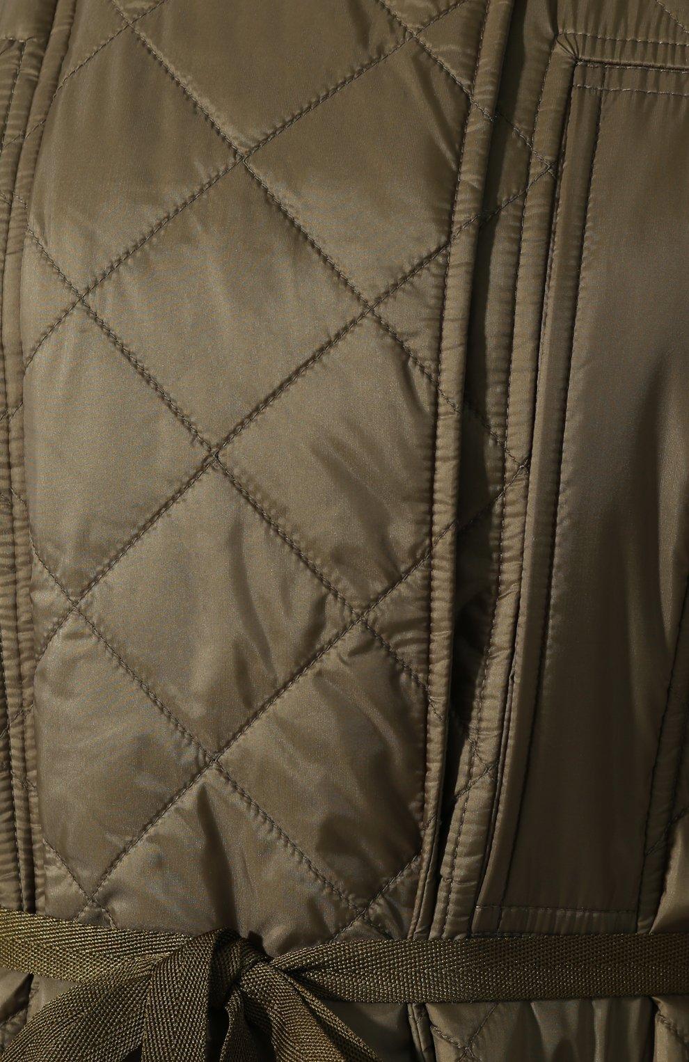 Стеганое пальто Burberry зеленого цвета   Фото №5