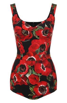 Боди с принтом Dolce & Gabbana красный | Фото №1