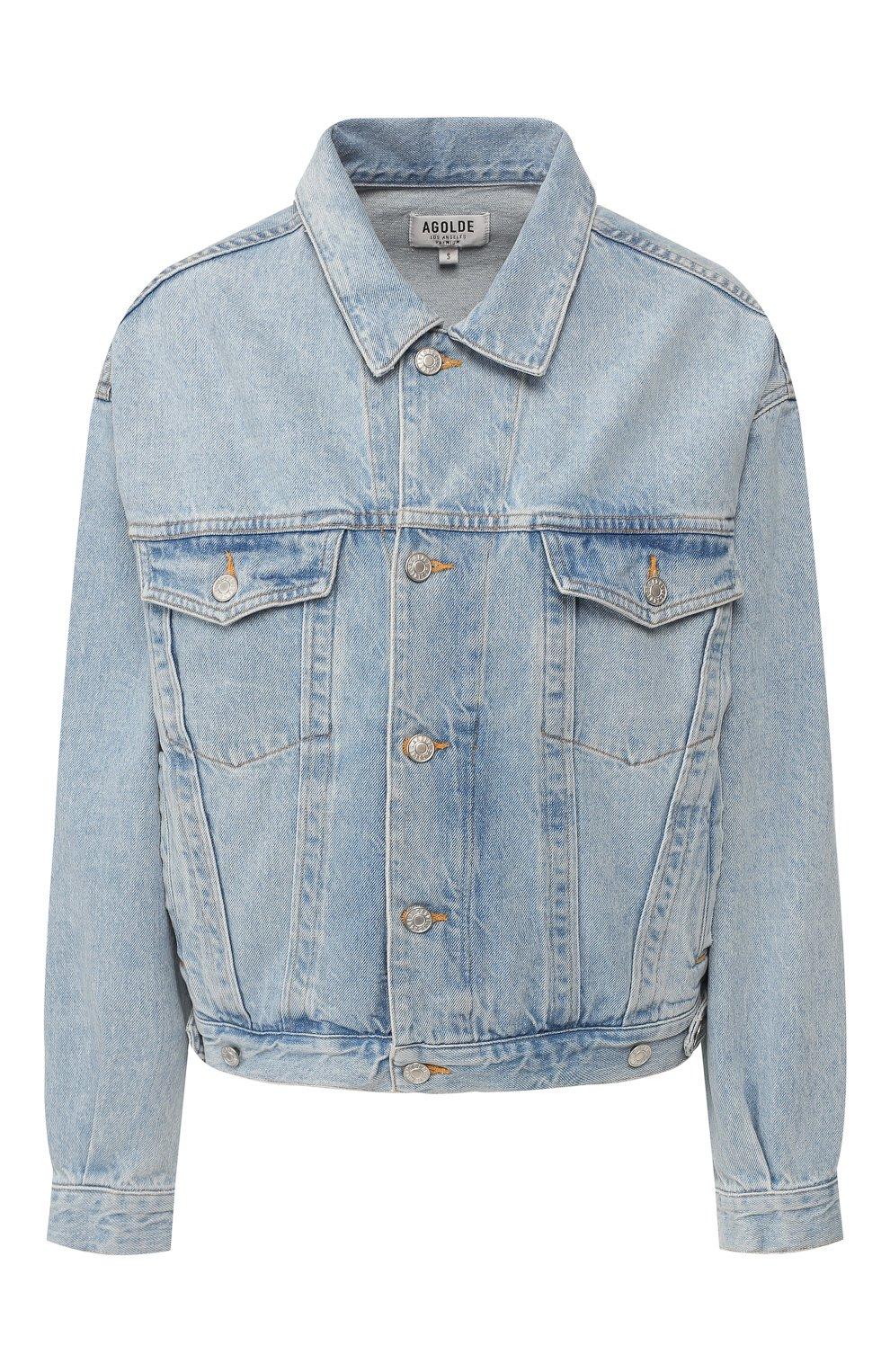 Женская джинсовая куртка AGOLDE голубого цвета, арт. A5010-778   Фото 1 (Кросс-КТ: Куртка, Деним; Рукава: Длинные; Материал внешний: Хлопок, Деним; Длина (верхняя одежда): Короткие; Стили: Кэжуэл; Статус проверки: Проверена категория)