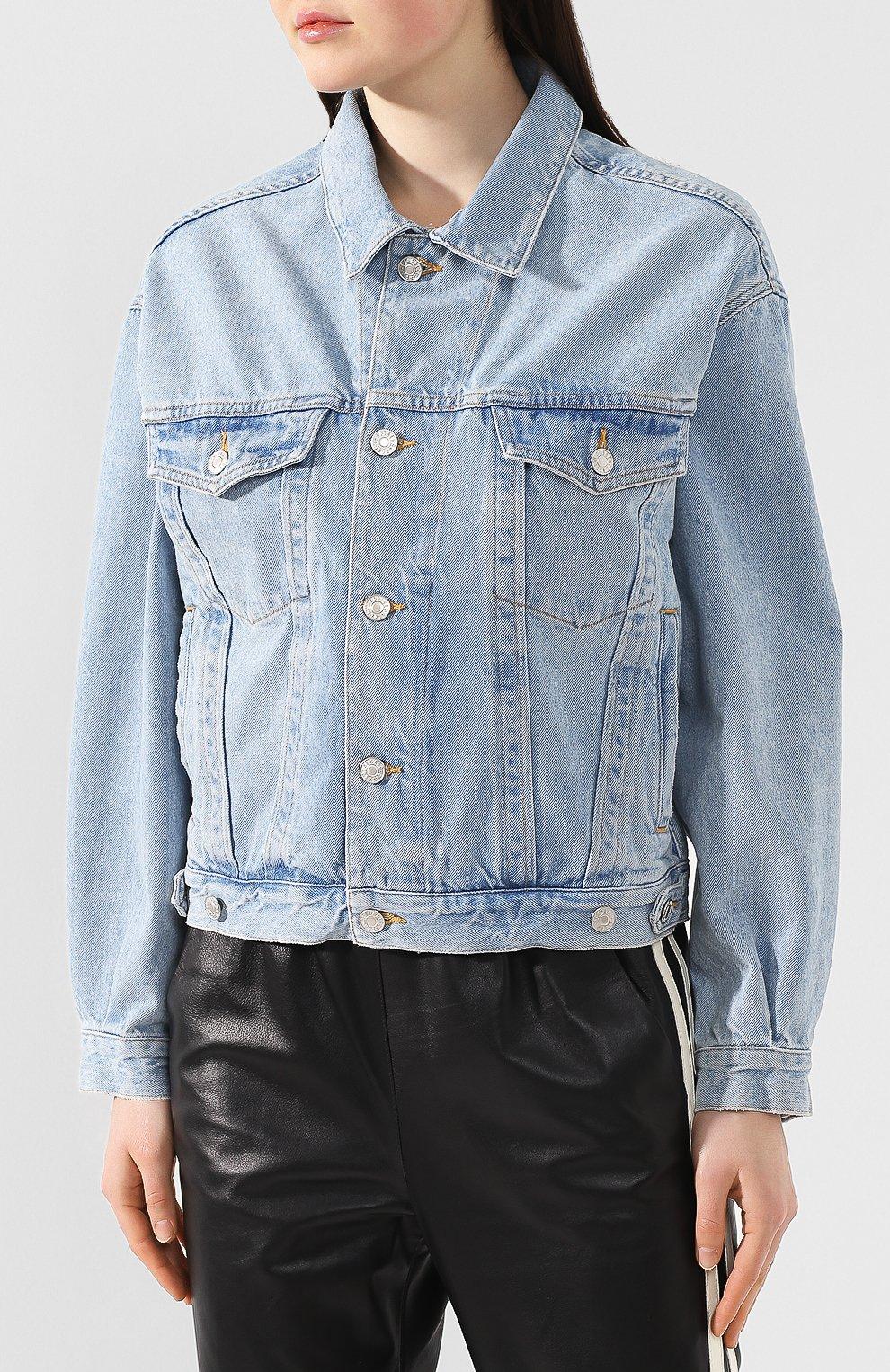 Женская джинсовая куртка AGOLDE голубого цвета, арт. A5010-778   Фото 3 (Кросс-КТ: Куртка, Деним; Рукава: Длинные; Материал внешний: Хлопок, Деним; Длина (верхняя одежда): Короткие; Стили: Кэжуэл; Статус проверки: Проверена категория)