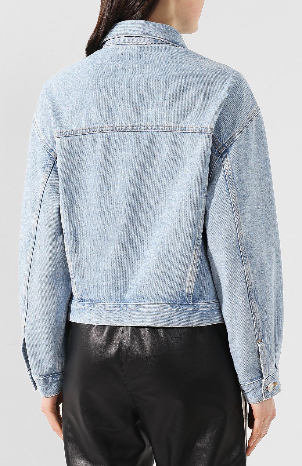 Женская джинсовая куртка AGOLDE голубого цвета, арт. A5010-778   Фото 4 (Кросс-КТ: Куртка, Деним; Рукава: Длинные; Материал внешний: Хлопок, Деним; Длина (верхняя одежда): Короткие; Стили: Кэжуэл; Статус проверки: Проверена категория)