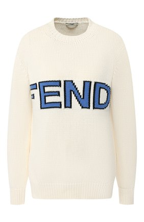 Хлопковый пуловер Fendi белый | Фото №1