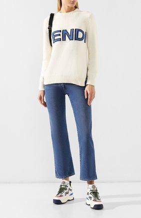 Хлопковый пуловер Fendi белый | Фото №2