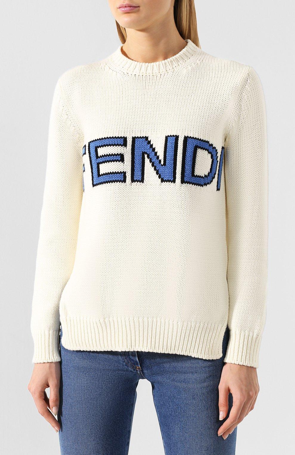 Хлопковый пуловер Fendi белый | Фото №3