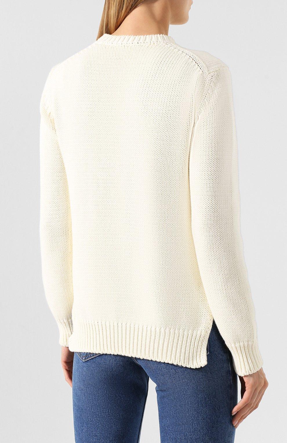 Хлопковый пуловер Fendi белый | Фото №4