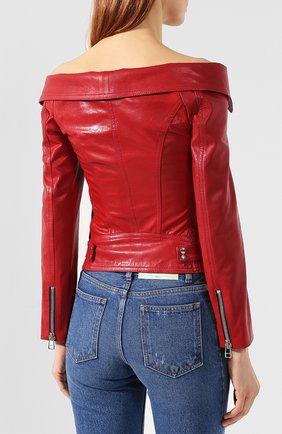 Кожаная куртка Faith Connexion красная | Фото №4