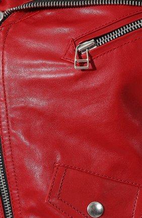 Кожаная куртка Faith Connexion красная | Фото №5