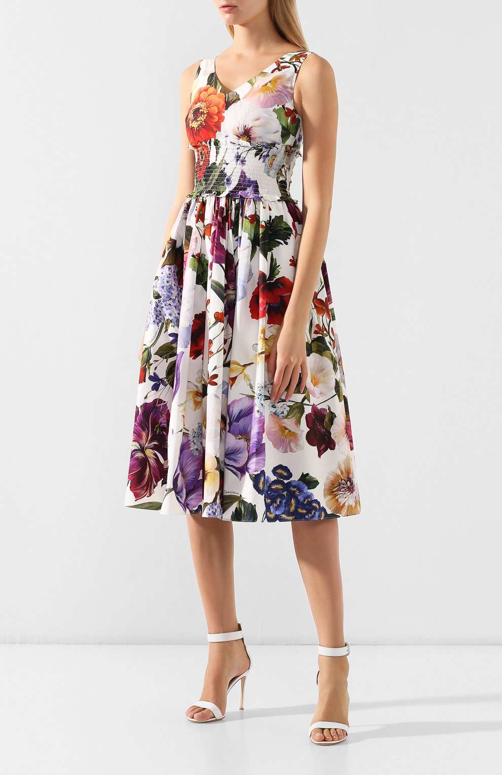 Хлопковое платье Dolce & Gabbana разноцветное | Фото №3
