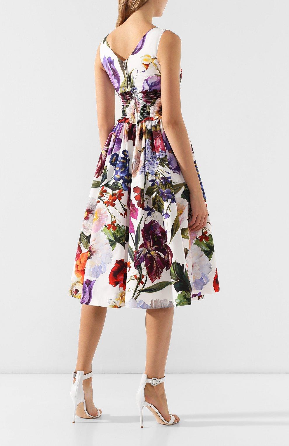 Хлопковое платье Dolce & Gabbana разноцветное | Фото №4