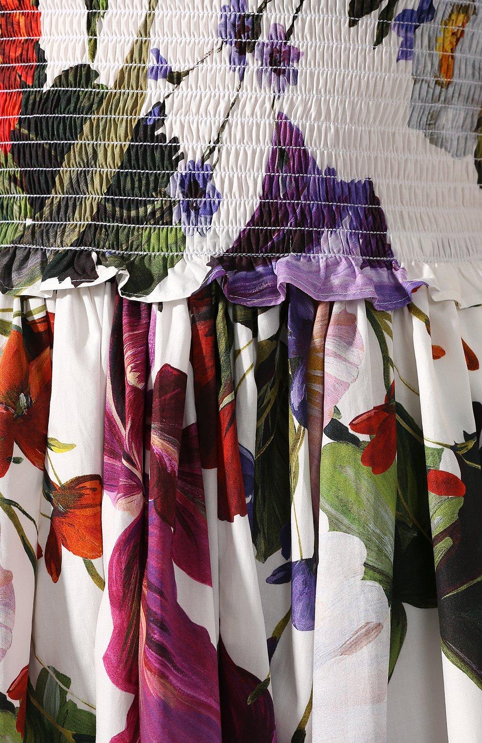 Хлопковое платье Dolce & Gabbana разноцветное | Фото №5