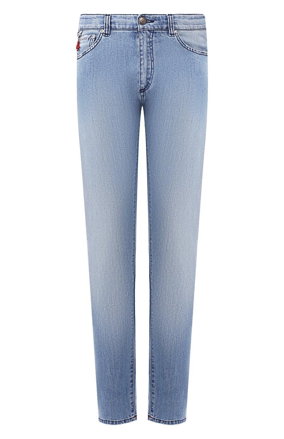 Мужские джинсы прямого кроя ISAIA голубого цвета, арт. DSR001/DJ056 | Фото 1