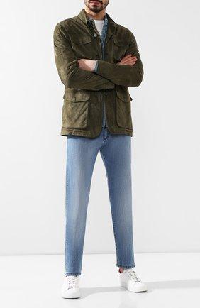 Мужские джинсы прямого кроя ISAIA голубого цвета, арт. DSR001/DJ056 | Фото 2