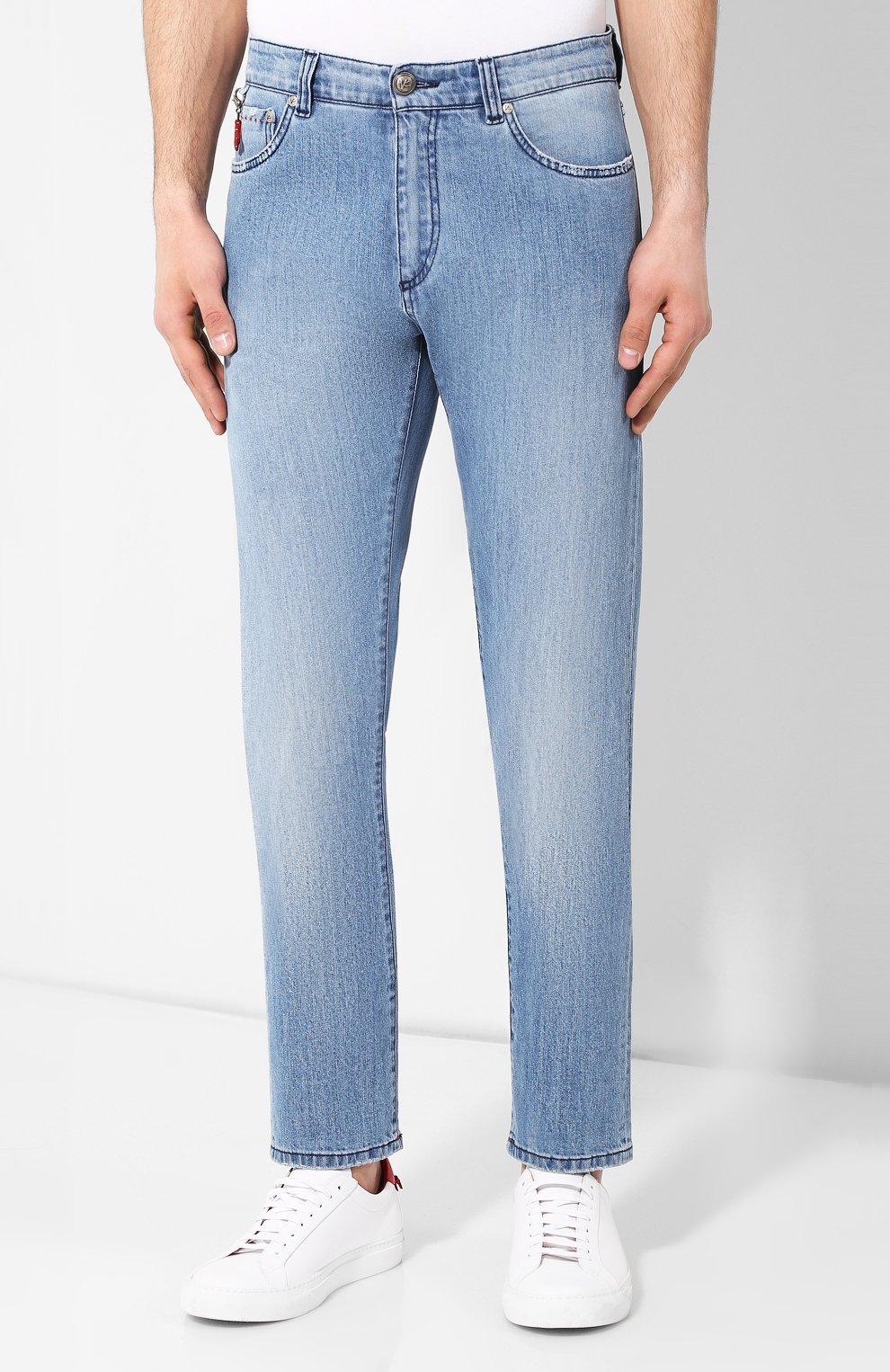 Мужские джинсы прямого кроя ISAIA голубого цвета, арт. DSR001/DJ056 | Фото 3