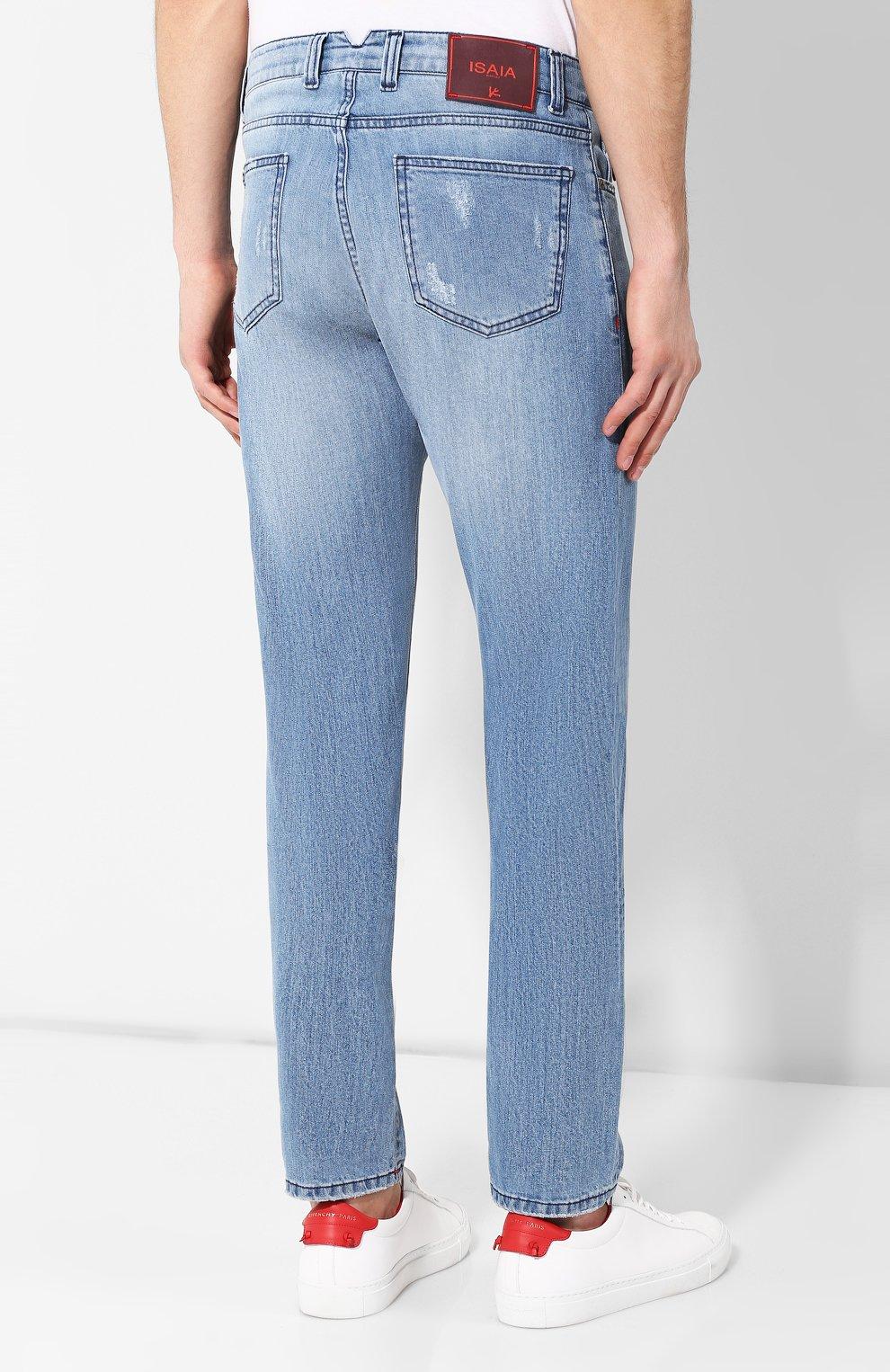 Мужские джинсы прямого кроя ISAIA голубого цвета, арт. DSR001/DJ056 | Фото 4