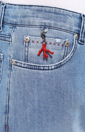 Мужские джинсы прямого кроя ISAIA голубого цвета, арт. DSR001/DJ056 | Фото 5