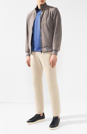 Мужские кожаные кеды TOM FORD темно-синего цвета, арт. J1045T-DAP   Фото 2